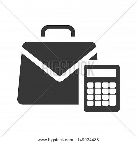 business briefcase accessory with calculator device icon silhoutte. vector illustration