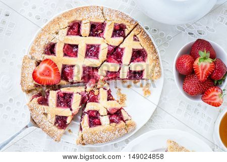 Apple, Strawberry And Blackberry Lattice Pie