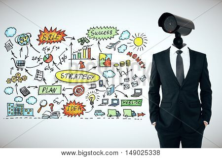 Business security management concept. Businessman with CCTV camera instead of head on light background with success sketch