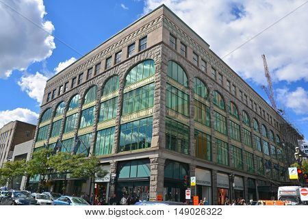 MONTREAL QUEBEC CANADA 09 23 16: La Maison Ogilvy, or Ogilvy in English and French, is a prominent retail establishment located in downtown Montreal, Quebec, Canada. Founded in 1866,