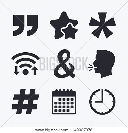 Quote, asterisk footnote icons. Hashtag social media and ampersand symbols. Programming logical operator AND sign. Wifi internet, favorite stars, calendar and clock. Talking head. Vector