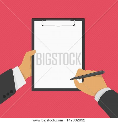 Man holds a clipboard and writes. Hand of businessman holding clipboard with blank sheet of paper and a pen. Vector illustration, flat design.