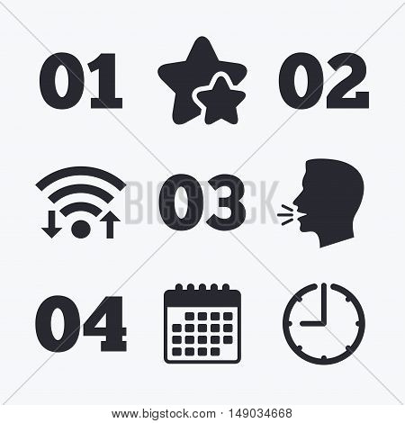 Step one, two, three and four icons. Sequence of options symbols. Loading process signs. Wifi internet, favorite stars, calendar and clock. Talking head. Vector