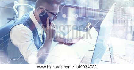 Concept Global Connection Virtual Icon Diagram Graph Interface Market Reserch.Bearded Businessman Making Great Business Decisions.Young Man Working Startup Desktop.Using Smartphone Call Partner.Wide