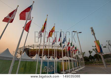 Rio de Janeiro, Brazil - September 17, 2016: Main tennis venue Maria Esther Bueno Court in Barra Olympic Park of Rio 2016.