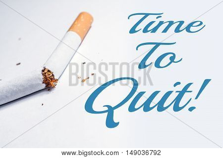 Time To Quit Smoking Reminder With Broken Cigarette In Whitebox