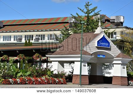 SARATOGA SPRINGS, NY - SEP 24: Saratoga Casino-Hotel in Saratoga Springs, New York, as seen on Sep 24, 2016. The property has 1,700 video lottery games as well as live harness racing during the months of March to December.