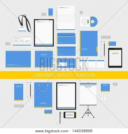 Classic stationery template design. Blue corporate identity template with digital elements. Vector company style for brand book and guideline. Modern branding design concept.