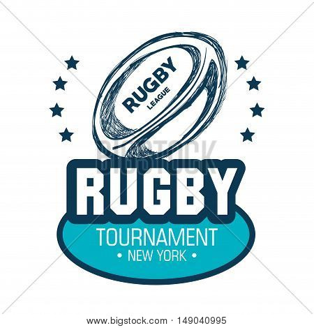 tournament rugby ball goal white graphic vector illustration eps 10