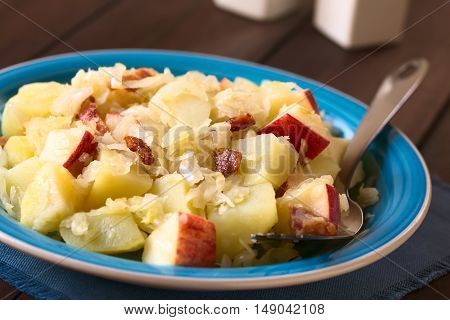 Potato sauerkraut and apple salad with fried bacon photographed with natural light (Selective Focus Focus one third into the salad)