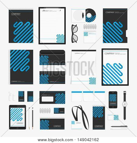 Modern corporate identity template for your business. Stationery template design. Universal Branding design set. Brand book and guideline concept. Company style in black and blue colors.