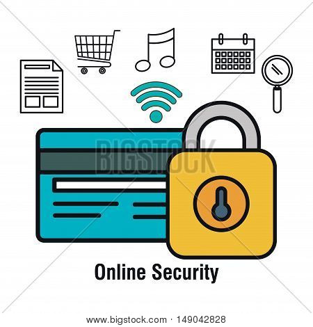 online security lock shpo buy isolated vector illustration eps 10