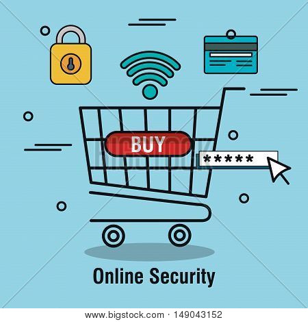 buy cart online security password isolated vector illustration eps 10