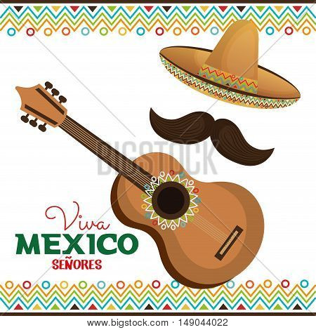 guitar and hat with moustache viva mexico vector illustration eps 10