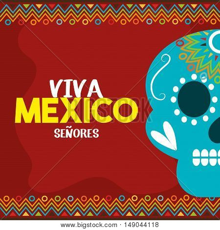skull viva mexico with red background vector illustration eps 10