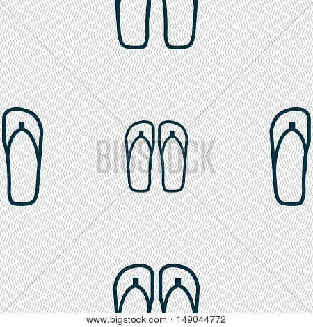 Flip-flops. Beach Shoes. Sand Sandals Icon Sign. Seamless Pattern With Geometric Texture. Vector