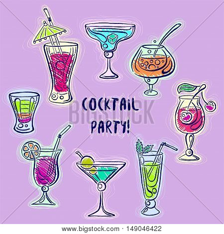 Hand drawn bright sketchy cocktail set. Vector illustration