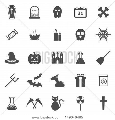 Halloween icons on white background, stock vector