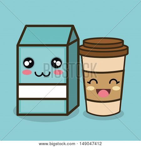 character emotion milk and cup plastic design vector illustration eps 10