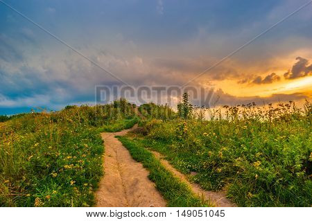 Pathway on a hill with wildflowers. Beautiful natural landscape at sunset with green grass, flowers and cloudy sky. Image of travelling and adventure in countryside. Great outdoors picture.