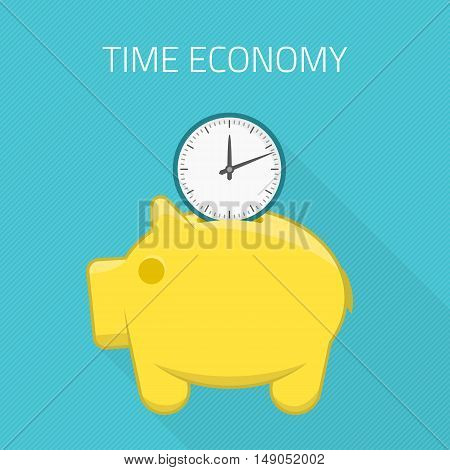 Piggy bank and watches. Saving time design concept vector illustration. Flat design.