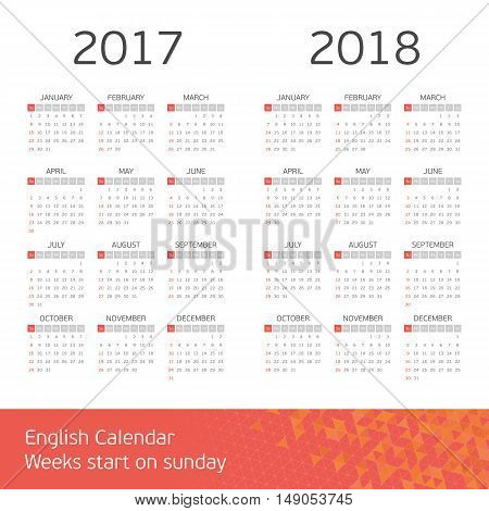 Calendar for years 2017 and 2018. Week starts from Sunday. Simple Vector Template.