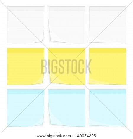 Set of vector Paper notes and stickers with curl corner. White, yellow and blue stick note isolated on white background.