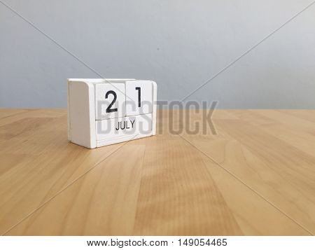 July 21St.july 21 White Wooden Calendar On Vintage Wood Abstract Background. Summer Day.copyspace Fo