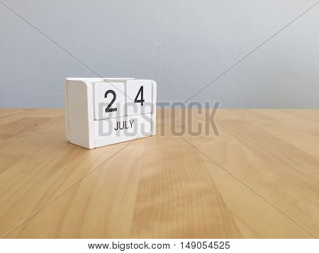 July 24Th.july 24 White Wooden Calendar On Vintage Wood Abstract Background. Summer Day.copyspace Fo