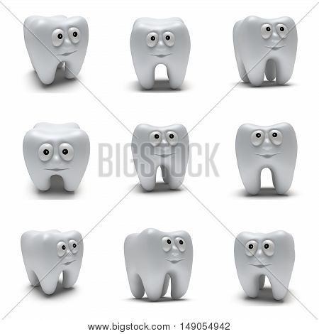 Cute healthy tooth with funny face set. 3d render illustration isolated on white background. Dental medicine healthcare concept collection.