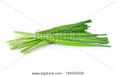 uncooked Chives or Chinese Chives on white background