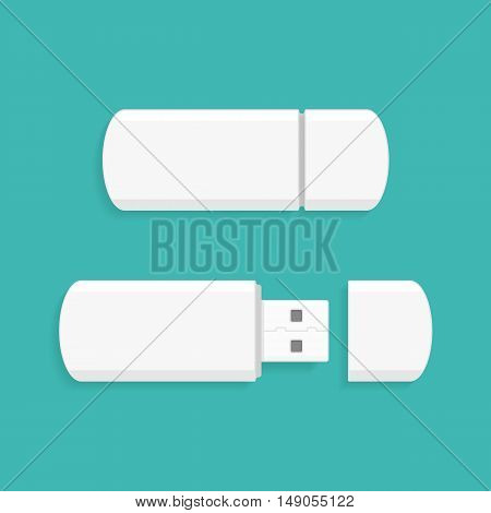 Vector illustration of Memory Stick. Usb flash memory icon in flat style. Design element for placing logo or use on corporate identity and branding stationery templates.