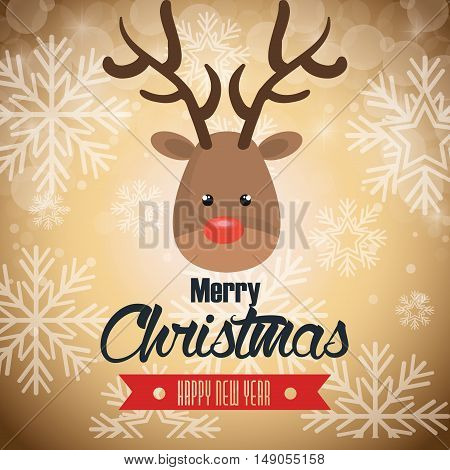 postcard reindeer merry christmas snowflake and beige background vector illustration