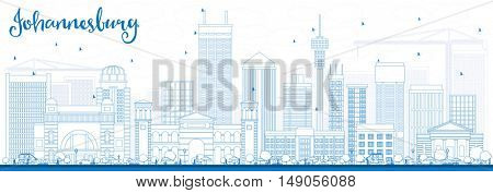 Outline Johannesburg Skyline with Blue Buildings. Business Travel and Tourism Concept with Johannesburg Modern Buildings. Image for Presentation and Banner.
