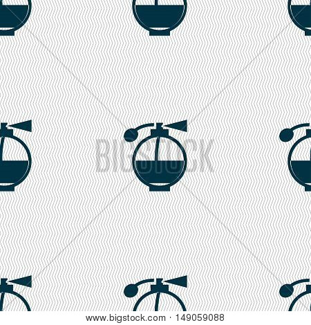 Perfume Icon Sign. Seamless Pattern With Geometric Texture. Vector
