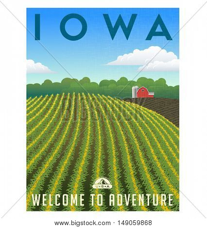 Iowa, United States retro travel poster or luggage sticker.  Scenic corn field and farm  vector illustration