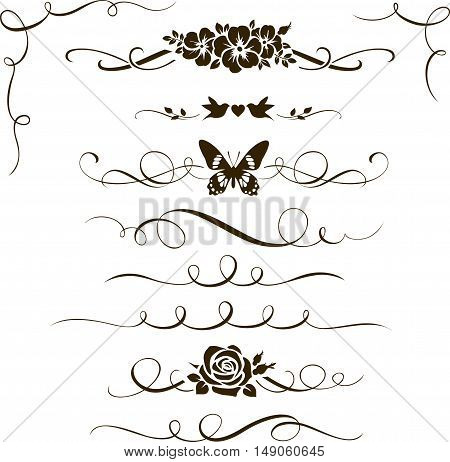 Set of floral calligraphic elements and ornament. Silhouettes of decorative flowers, birds and butterfly. Dividers and corners for your design and page decoration