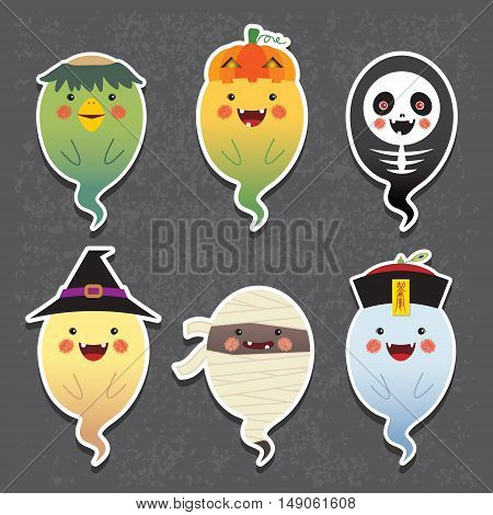Set of collection of cute ghost with different cosplay: kappa (river imp), jack o lantern, skeleton, witch, mummy and chinese zombie. Cartoon halloween ghosts vector icon set. poster