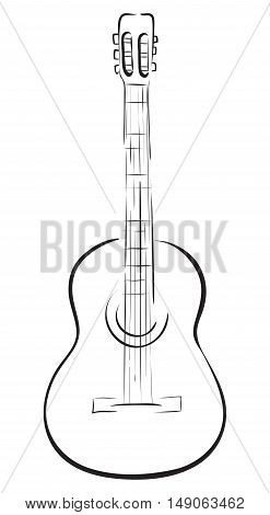 Classical acoustic guitar. Vector monochrome freehand linear ink drawn backdrop sketch in art antique scrawl style pen on paper.