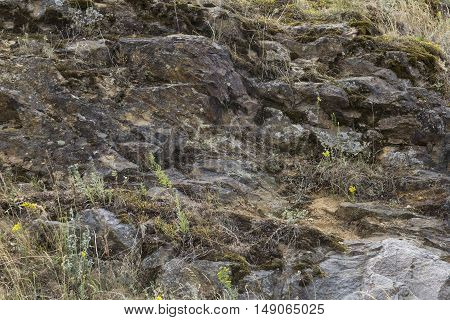 Rusty and gray striae on rock stone pattern textured background