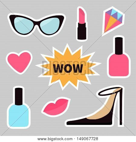 Quirky cartoon sticker patch badge set. Fashion pin. Lipstick heart wow text bubble star diamond shoes lips sunglasses nail polish. White line contour Isolated Gray background. Flat design Vector