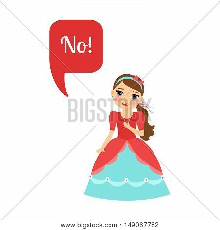 Cute cartoon princess with speech bubble No for game design. Vector illustration