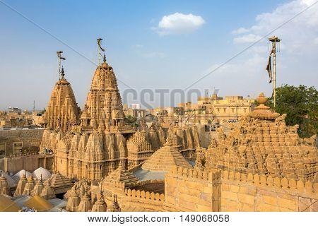 Roof of the Jain temple in Jaisalmer, India.