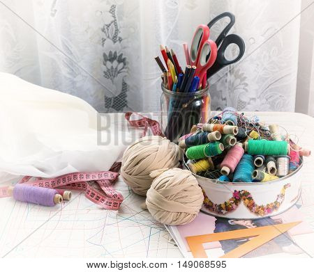 Sewing supplies and accessories on the table tools craft