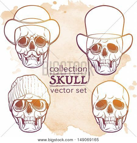 Hipster style human skull set. Hand drawn sketch on a watercolor spot. Vintage design set. Halloween concept art. EPS10 vector illustration.