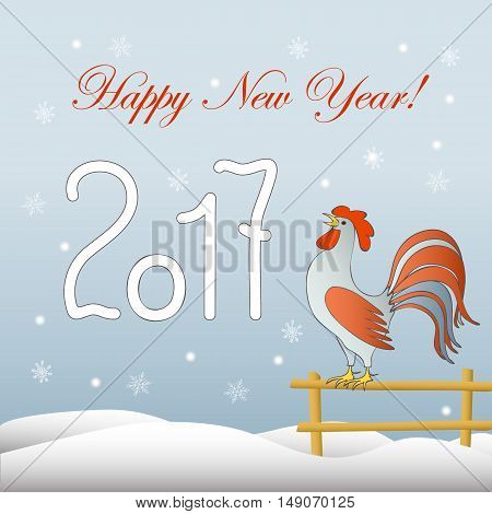 New year`s card with symbol of the year 2017 red rooster and text Happy New Year 2017. Design for cover calendar new year 2017. eps 10.
