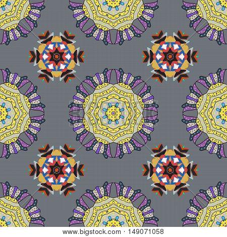 Hand drawn seamless pattern with mandalas. Vector.