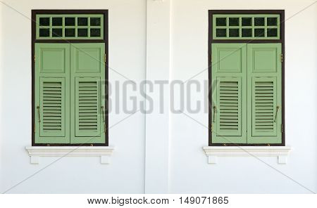 Green color wood windows thai traditional style