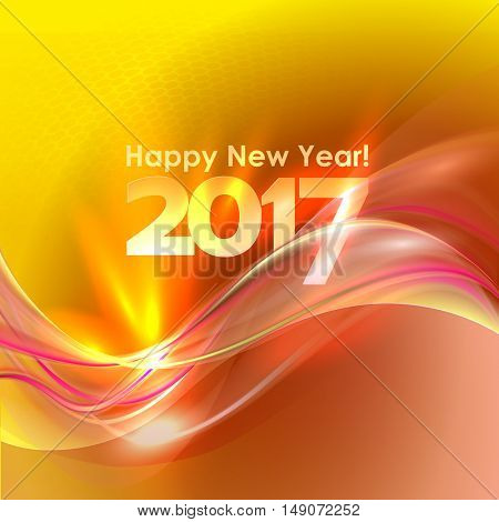 2017 Happy New Year abstract yellow background with red wave. Vector illustration