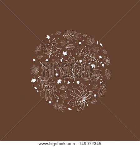 Autumn leaves design white outline on brown background
